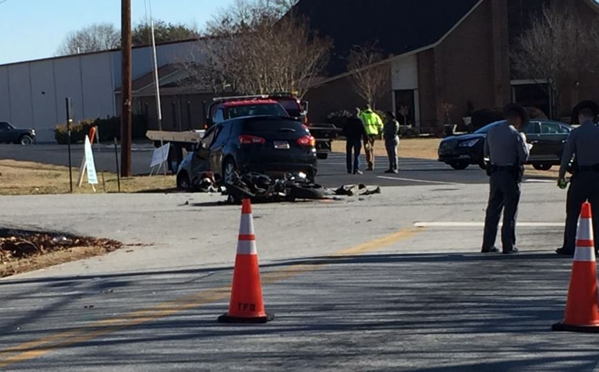 Car vs motorcycle on Taylors Road (FOX Carolina)