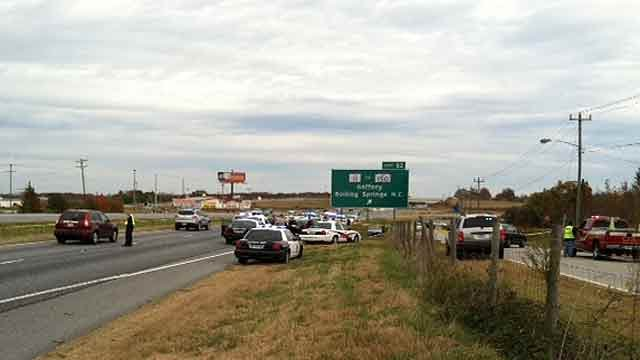 Interstate 85 north where Sunday's chase ended with a crash. (Nov. 13, 2011/FOX Carolina)