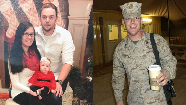 Cody Tellier with wife Sarah and baby Ellie (left) and Cody serving in the Marines (Source: Family)