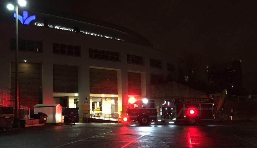 Fire trucks outside the Bon Secours Wellness Arena (FOX Carolina/ Feb. 12, 2018)