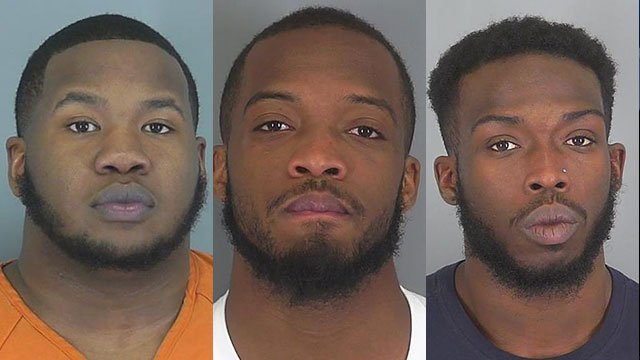 Left to right: Travis Freeman, Shiquan Freeman and Devin Crapps (Source: Spartanburg Co. Detention)