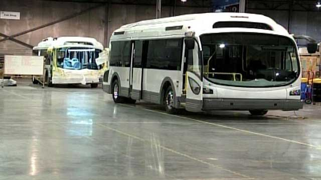 An electric bus is parked on the factory floor of Proterra. (File/FOX Carolina)
