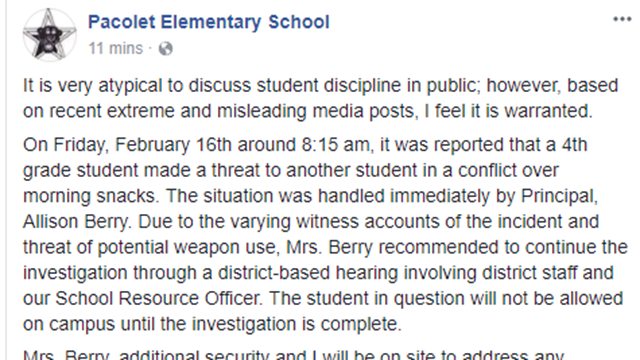 """Spartanburg District 3: Investigation underway after """"4th grade student made a threat to another student in a conflict over morning snacks"""""""