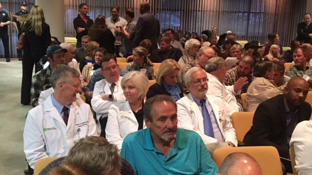 Dozens of doctors from GHS are awaiting the Greenville Co. Council meeting to discuss the house bill calling for the sale of GHS. (2/20/28 FOX Carolina)
