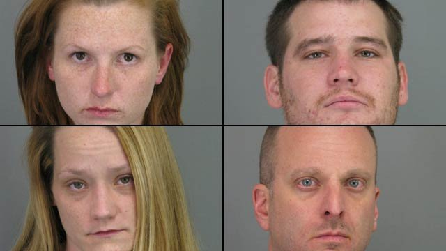 From top-left to lower-right: Megan Baucom, Zachary Gilstrap, Casey Sandlin and Steven Sudduth (Spartanburg County Sheriff's Office)