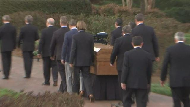 Rev. Billy Graham's casket carried in to The Billy Graham Library for a ceremony in his honor