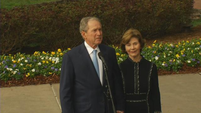 George and Laura Bush at the Billy Graham Library. (Feb. 26, 2018/FOX Carolina)