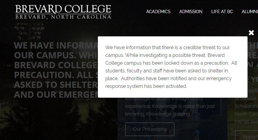 Screen shot of the warning message on the Brevard College website (Brevard.edu)