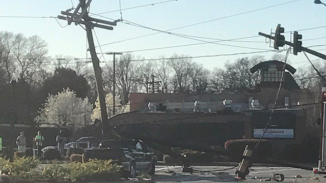Truck crashed into power pole (Feb. 27, 2018/FOX Carolina)