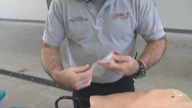 Clemson University firefighters, paramedics equipped with ventilated chest seals. (FOX Carolina/ Feb. 27, 2018)