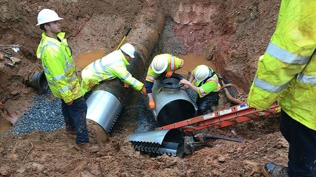 Crews work to repair waterline (Source: Spartanburg Water)