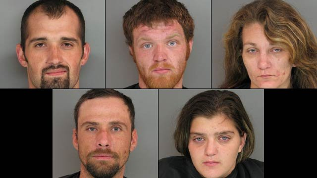 From top-left to lower-right: Frankie Brooks, Cameron Clark, Donna Davis, Kenneth Harris, and Summer Smith. (Anderson Co. Sheriff's Office)