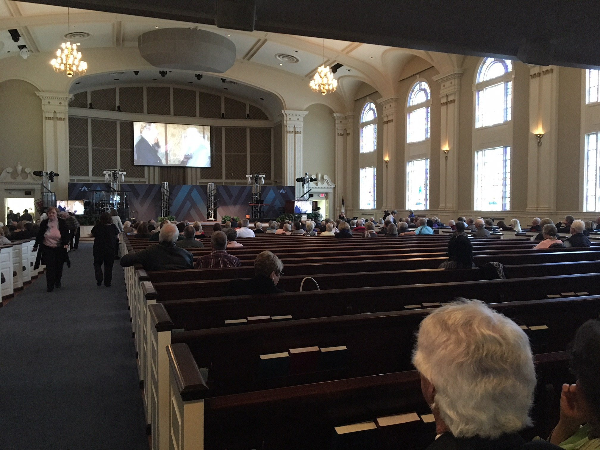 People gathered at First Baptist Spartanburg Friday to watch Rev. Billy Graham's funeral (FOX Carolina: 3/2/2018).