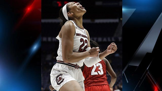 A'ja Wilson  celebrates after a score against Georgia in the second half of an NCAA college basketball semifinal game at SOCON. (Source: AP Images)