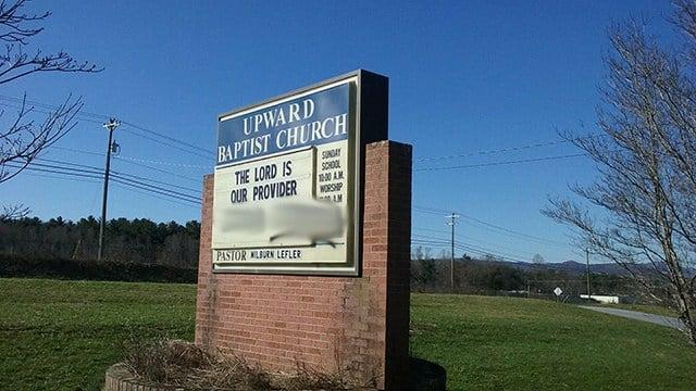 Vandalism at Upward Baptist Church.