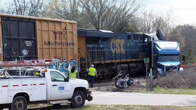 Semi truck hit by train in Laurens County (Mar. 5, 2018/FOX Carolina)