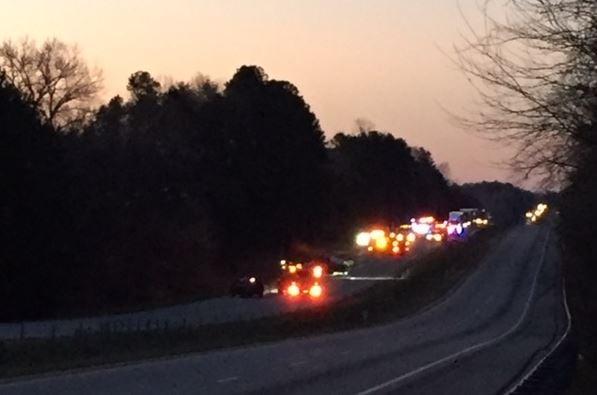 Scene of the crash on I-26 West near Clinton (FOX Carolina/ March 9, 2018)