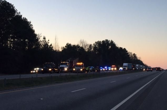 Troopers are reporting westbound lanes of I-26 blocked in near mile marker 49 in Laurens County after a crash Friday morning.  (FOX Carolina/ March 9, 2018)