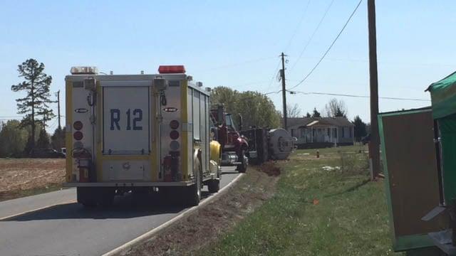Overturned tanker in Anderson County. (FOX Carolina/Mar. 9, 2018).