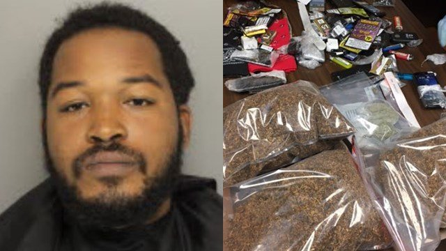 Kadeem Cobb and seized contraband (Source: Greenville Co. Detention/Department of Corrections)