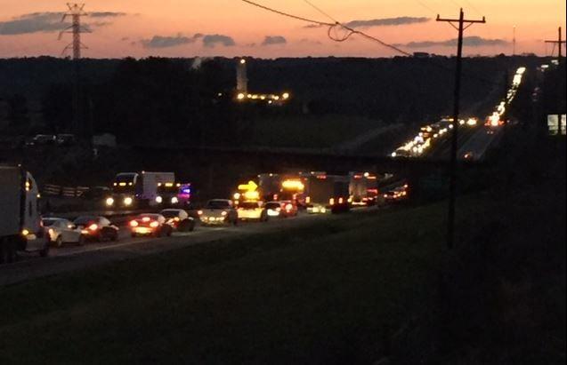 Crash involving semi stuck in median on I-85 (FOX Carolina/ March 13, 2018)
