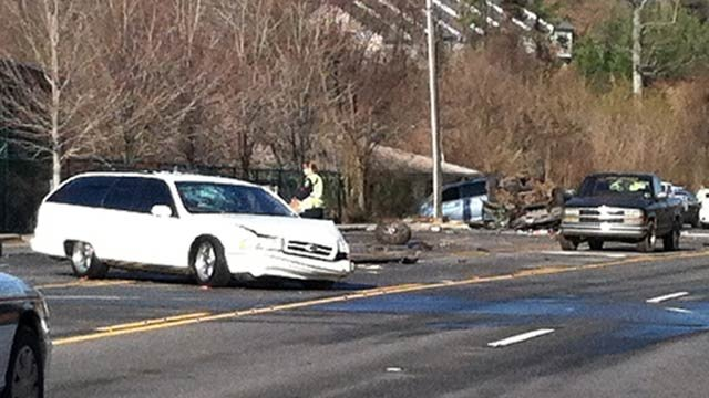 The accident scene on New Leicester Highway in Asheville. (Dec. 14, 2011/FOX Carolina)