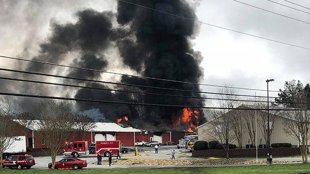 Fire on Pelzer Highway (Source: iWitness)