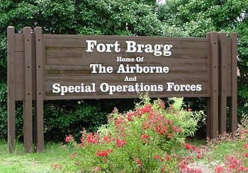 Fort Bragg entrance sign (Wikimedia Commons)