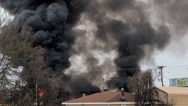 Fire at Adams Recycling (Source: iWitness)