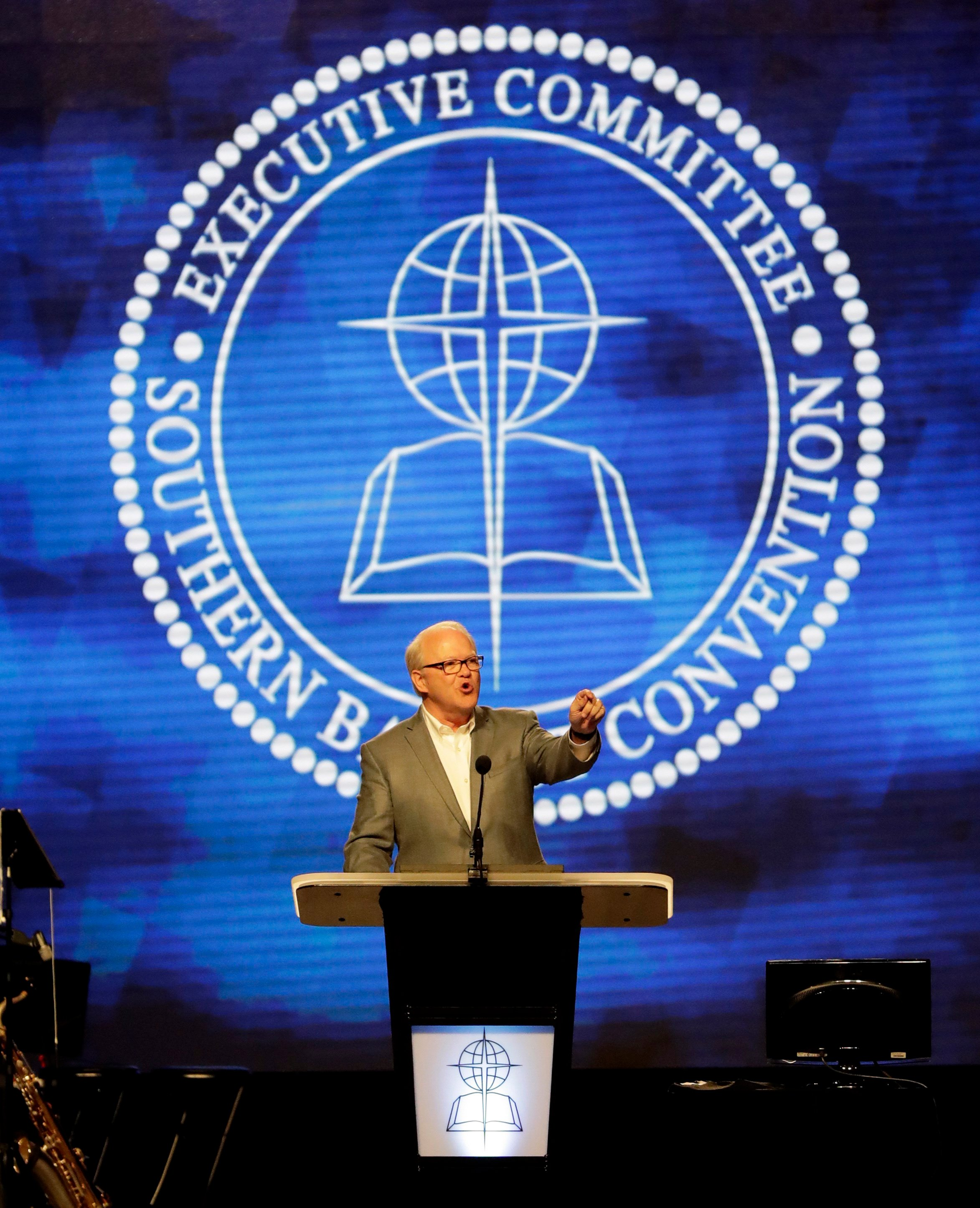 Southern Baptist Executive Committee President Frank S. Page speaks during the Southern Baptist Convention annual meeting, Tuesday, June 13, 2017, in Phoenix. (AP Photo/Matt York)