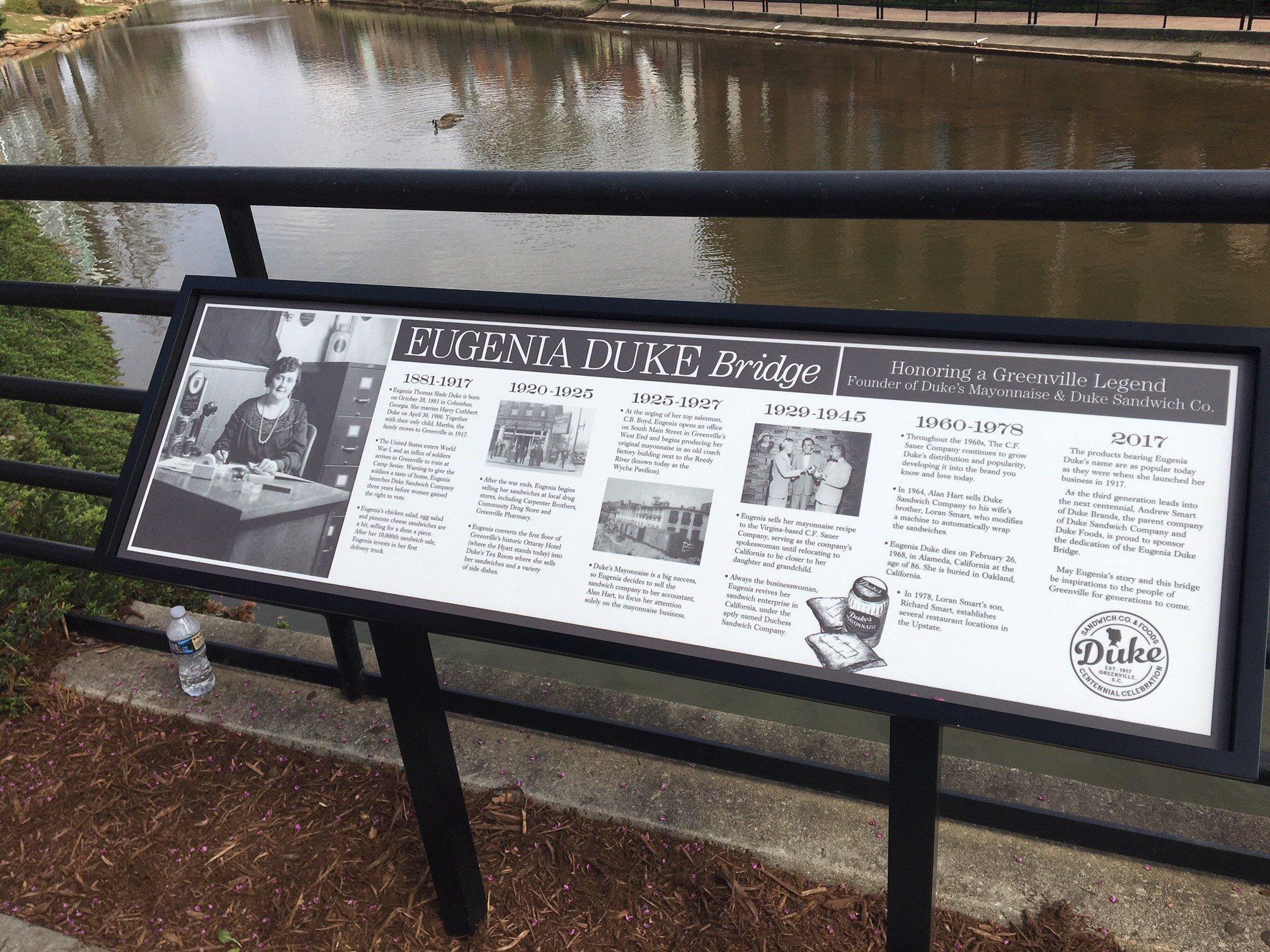 A bridge over the Reedy River in downtown Greenville was dedicated to creator of Duke's Mayonnaise, Eugenia Duke (FOX Carolina: 3/29/18).
