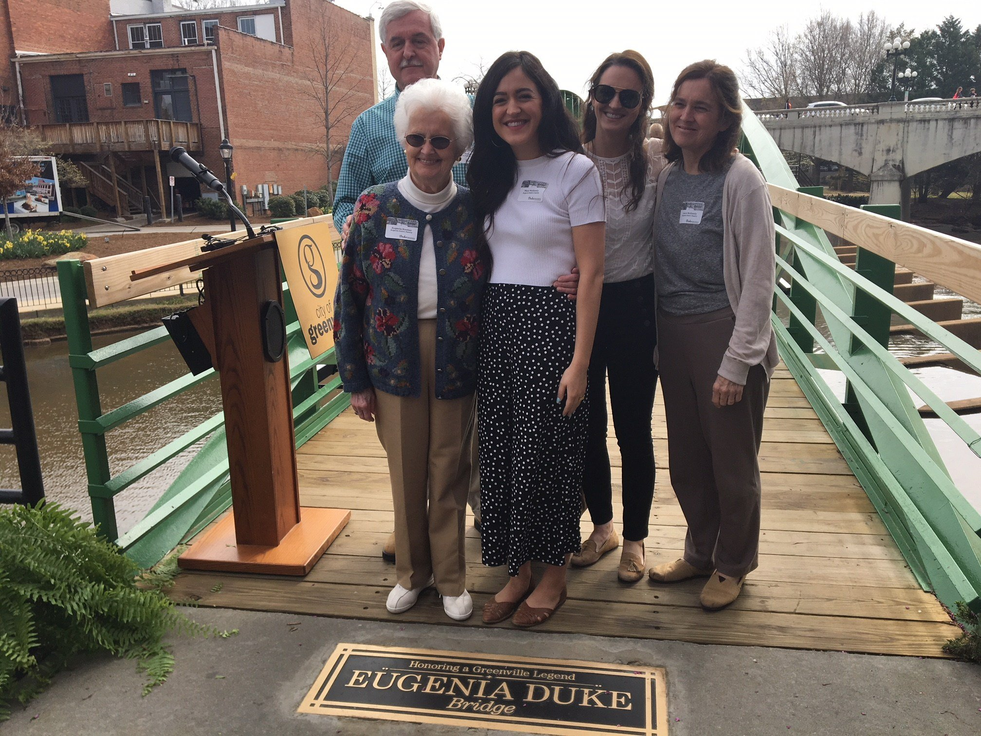 Family of Eugenia Duke attended a bridge dedication ceremony in downtown Greenville (FOX Carolina: 3/29/2018),