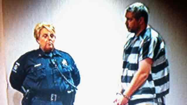 Michael Wilkie appears in District Court on a first-degree murder charge. (Jan. 6, 2012/FOX Carolina)