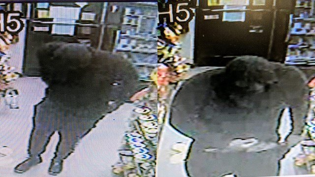 Surveillance footage from mini mart robbery. (Source: Spindale PD)