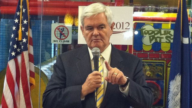GOP presidential candidate Newt Gingrich at an Upstate Chick fil-A. (File/FOX Carolina)