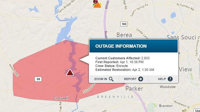 Duke Energy reports outage in Greenville Co. (Source: Duke Energy Outage Map)
