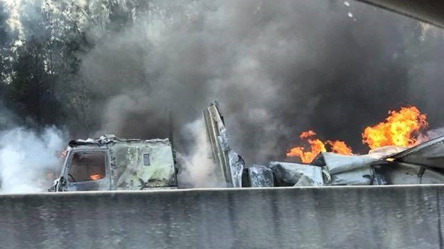 Tractor trailer fire on I-85 S in Anderson Co. (Credit: Michelle N David Wilkerson)