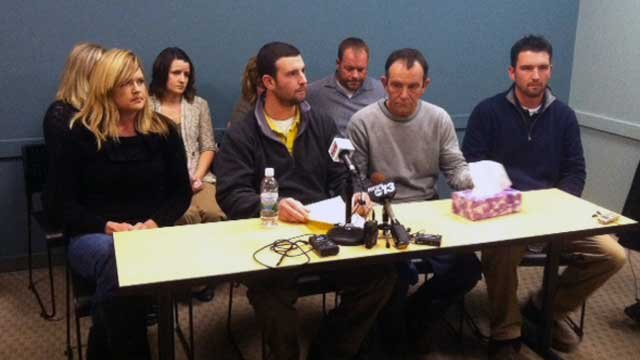 Shelby Sprowls Wilkie's family speaks at her place of work. (Jan. 6, 2012/FOX Carolina)
