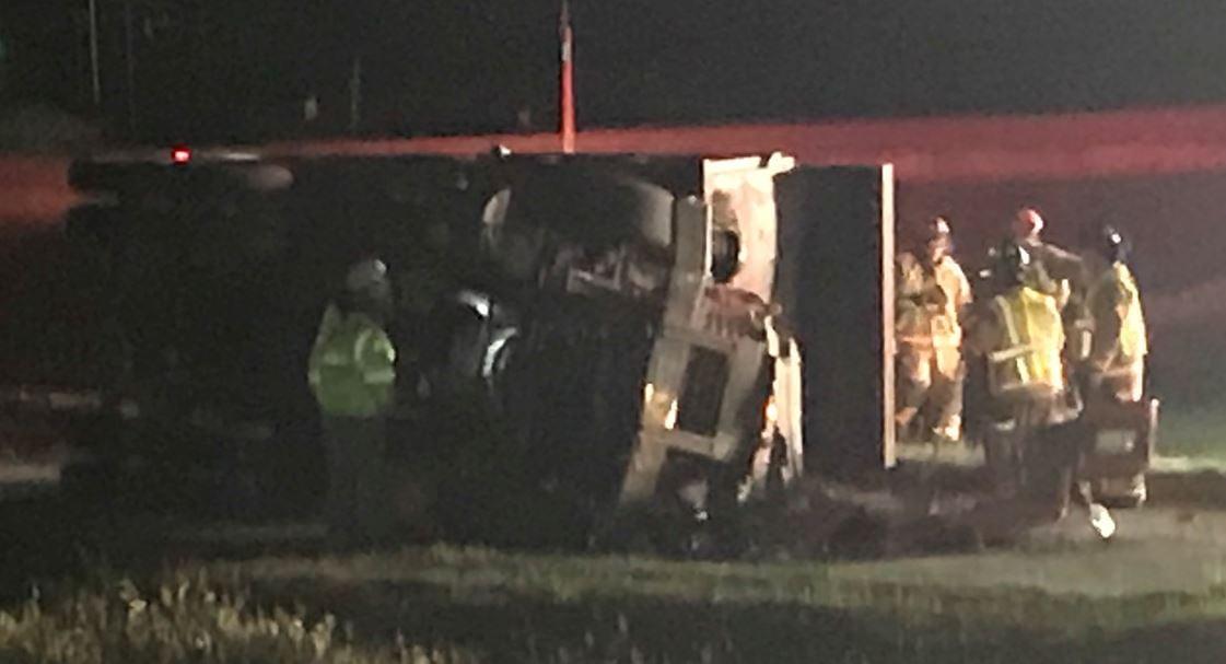 The overturned truck (FOX Carolina/ April 6, 2018)