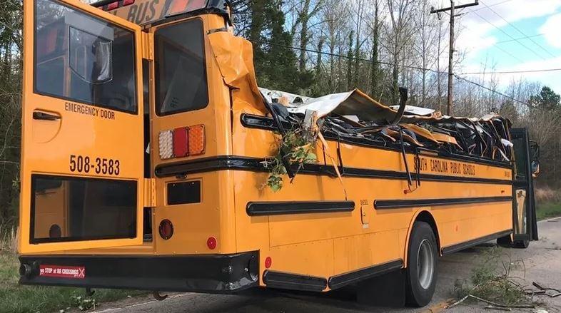 Bus crushed by tree (file/FOX Carolina)