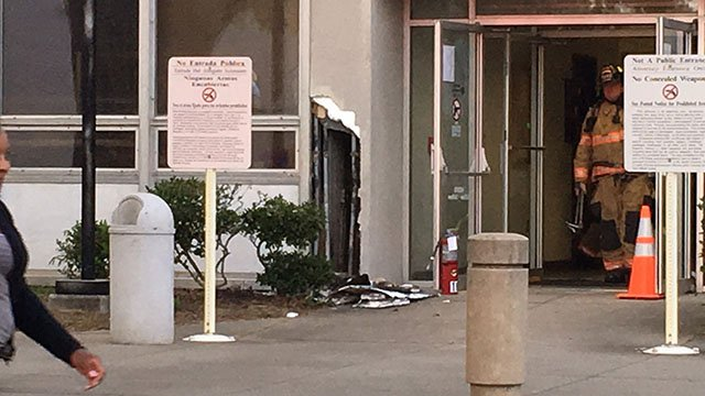 Scene of fire at Spartanburg Co. Courthouse (FOX Carolina/ 4/11/18)