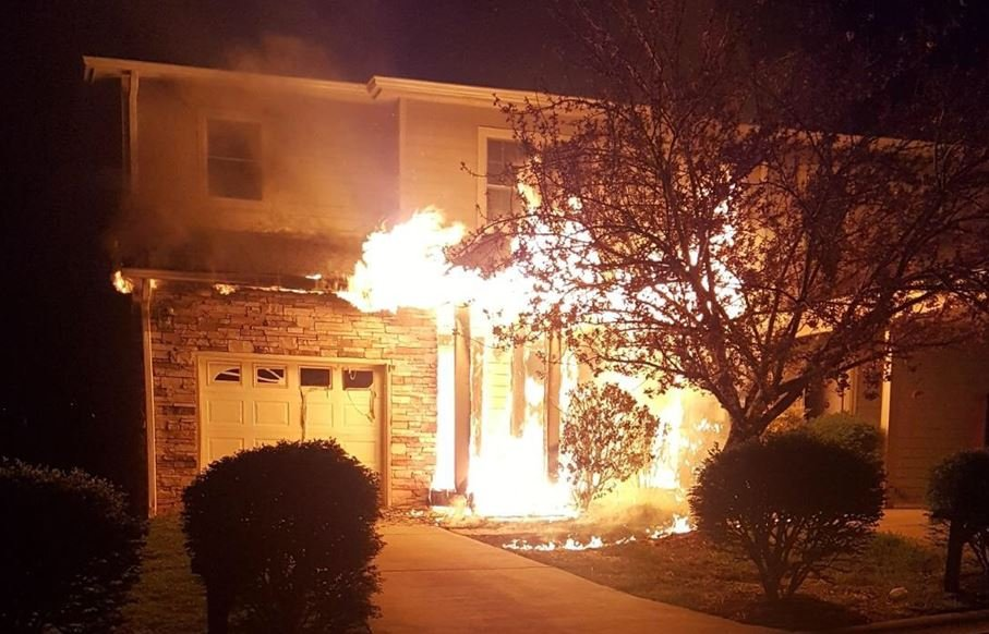 Viewer photo: Flames outside an Asheville apartment building (Photo provided)