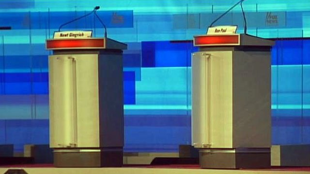 The podiums for two Republican candidates stand at the Myrtle Beach ...