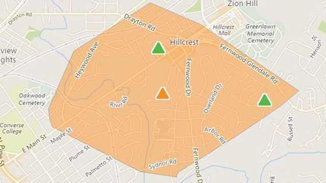 Outage affects over 1,300 customers in Spartanburg County (Source: Duke Energy outage map)