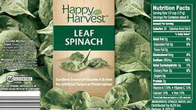 Happy Harvest Canned Spinach. (Source: FDA).