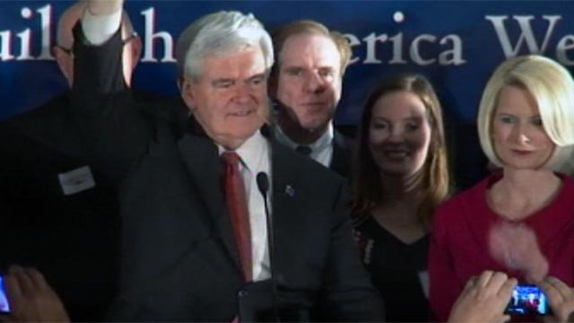 GOP presidential candidate Newt Gingrich celebrates his South Carolina primary win in Columbia. (File/FOX Carolina)