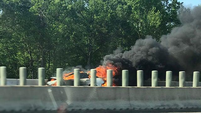 Car fire along I-85 SB near exit 54 (FOX Carolina/ 4/28/18)