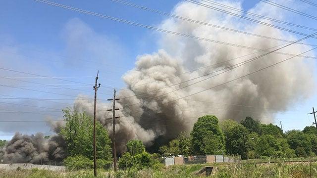 Scrap yard fire in Anderson (May 1, 2018/FOX Carolina)