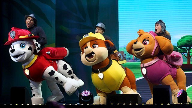 """Characters perform during Paw Patrol Live! """"The Great Pirate Adventure"""" (Source: Jessica Reilly/Telegraph Herald via AP)"""