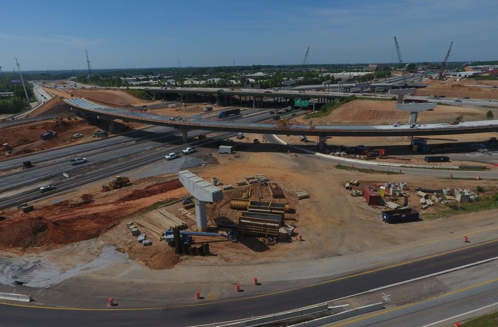 Aerial shot of the I-85/ 385 Gateway Project (FOX Carolina/ May 2, 2018)